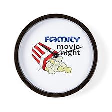 FAMILY MOVIE NIGHT Wall Clock