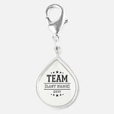Team Family Silver Teardrop Charm