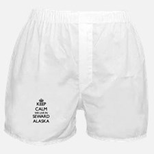 Keep calm we live in Seward Alaska Boxer Shorts