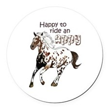 HAPPY TO RIDE AN APPY Round Car Magnet