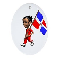 Dominican Republic Girl Oval Ornament