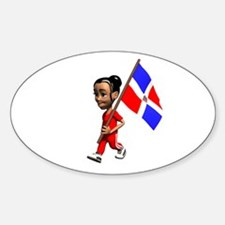 Dominican Republic Girl Oval Decal