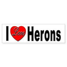 I Love Herons Bumper Sticker for Heron Lovers