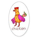 Kid Art Chicken Oval Sticker