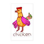Kid Art Chicken Rectangle Sticker