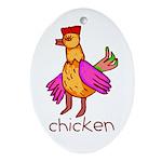 Kid Art Chicken Oval Ornament