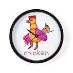 Kid Art Chicken Wall Clock