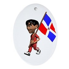 Dominican Republic Boy Oval Ornament