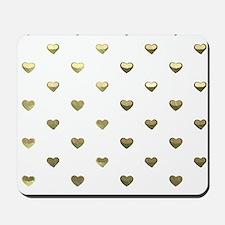 Gold Hearts Mousepad