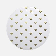 Gold Hearts Ornament (Round)