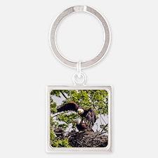 Bald Eagle Family Square Keychain