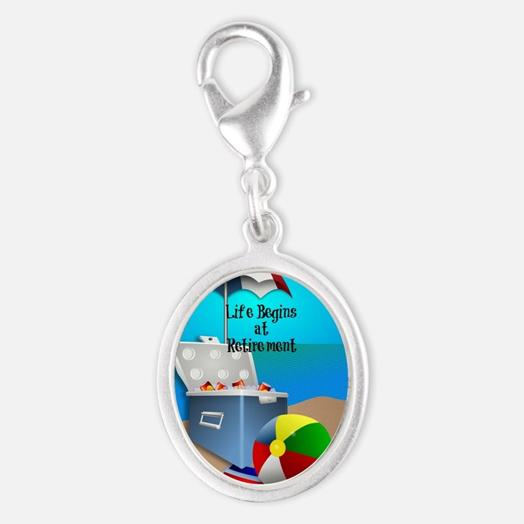 Retirement - Colorful Beach The Silver Oval Charm