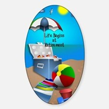 Retirement - Colorful Beach Theme Sticker (Oval)