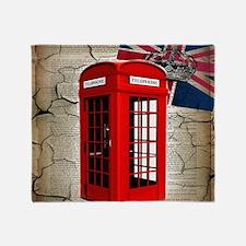 union jack telephone booth Throw Blanket