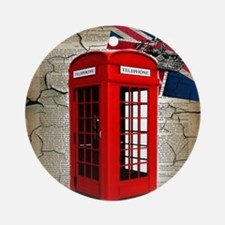 union jack telephone booth Round Ornament