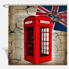 union jack telephone booth Shower Curtain