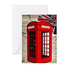 union jack telephone booth Greeting Cards