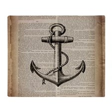 nautical vintage anchor Throw Blanket