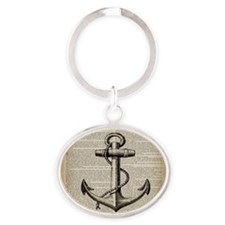 nautical vintage anchor Oval Keychain