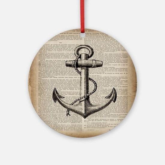 nautical vintage anchor Round Ornament