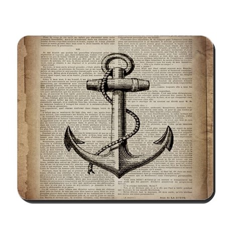 Exceptional Nautical Vintage Anchor Mousepad
