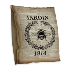 vintage french bee Burlap Throw Pillow