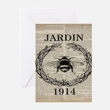vintage french bee Greeting Cards