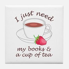 BOOKS AND TEA Tile Coaster