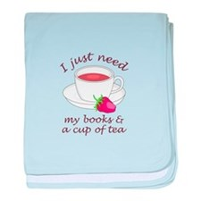 BOOKS AND TEA baby blanket