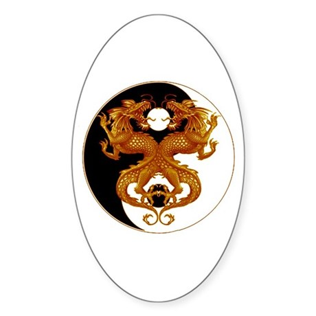 Yin Yang Dragons 7 Oval Sticker