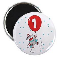 Sock Monkey 1st Birthday Magnet