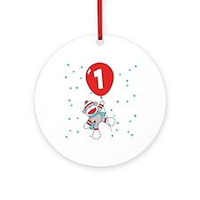 Sock Monkey 1st Birthday Ornament (Round)