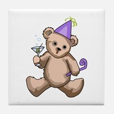 New Year Teddy Bear Tile Coaster
