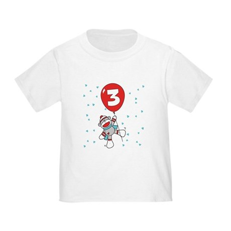 Sock Monkey 3rd Birthday Toddler T-Shirt