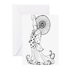 Kimono Squid Greeting Cards