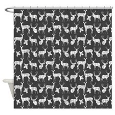 Deer On Charcoal Shower Curtain