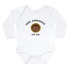 CV-66 USS America Long Sleeve Infant Bodysuit