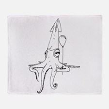 Squid with a balloon Throw Blanket