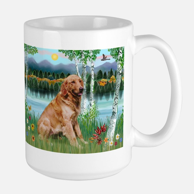 Golden in Birch Country Large Mug