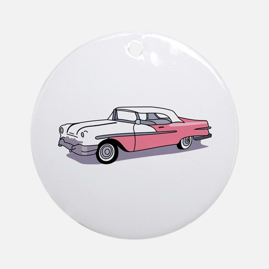 PINK CLASSIC CAR Ornament (Round)
