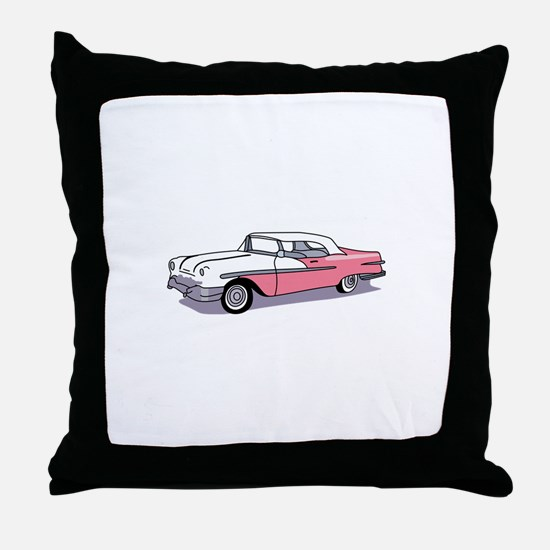 PINK CLASSIC CAR Throw Pillow
