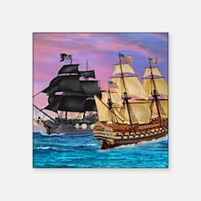 """PIRATE SEA BATTLE Square Sticker 3"""" x 3"""""""