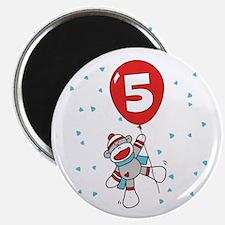 Sock Monkey 5th Birthday Magnet
