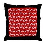 Deer on Red Throw Pillow
