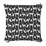 Deer on Charcoal Woven Throw Pillow