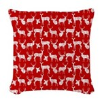 Deer on Red Woven Throw Pillow