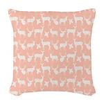 Deer on Pink Woven Throw Pillow