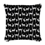 Deer on Black Woven Throw Pillow