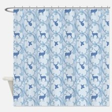 Deer and Blue Scrolls Shower Curtain