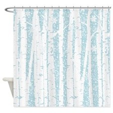 White Birch Trees Blue Sky Shower Curtain